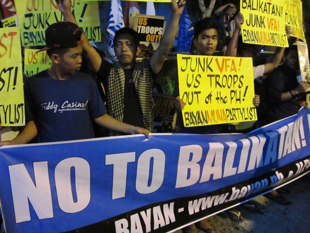 Multisectoral groups protest Balikatan at Olongapo City after holding a caravan from Quezon City to Tarlac City to Olongapo City (Photo by M. Salamat)