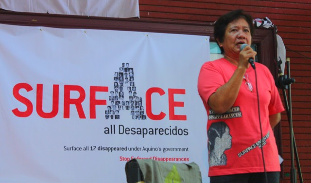 Mrs. Concepcion Empeño says enforced disappearances continue under the Aquino administration. (Photo by Ronalyn V. Olea/ Bulatlat.com)