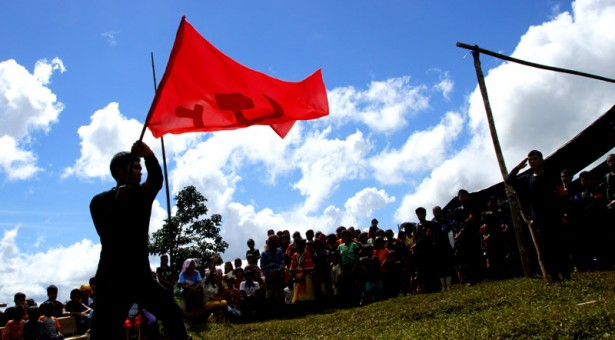 FLAG DANCE. 45th Year Anniversary flag dancing in a Compostela Valley gathering (Earl Condeza/davaotoday.com)