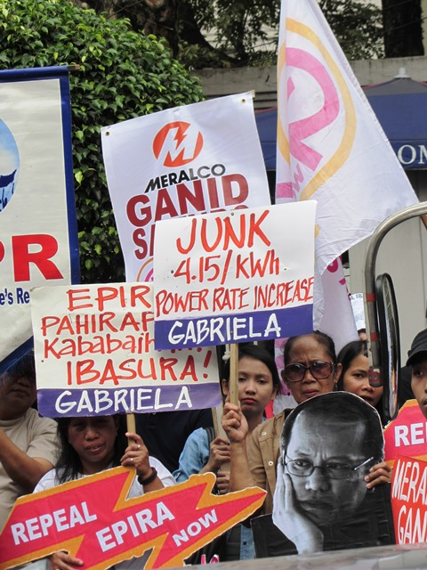 "Protesters assail Meralco for its ""greed."" (Bulatlat File Photo, 2014)"