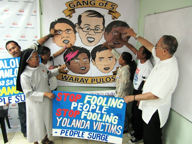 Yolanda survivors' alliance People Surge, Chruchpeople and supporters from various organizations decry the 'Gang of Five'