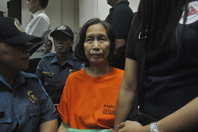 Wilma Austria, alleged top communist leader, tells media they would prove in court that they did not commit any crime. (Photo by Macky Macaspac)