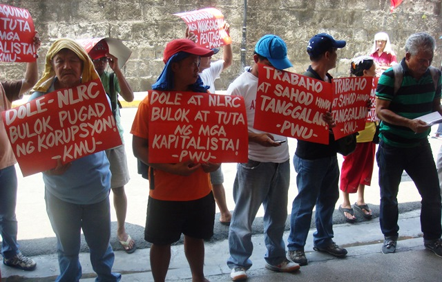 Members of KMU in a picket in front of labor department in Manila, May 20 (Photo courtesy of KMU Public Info Dept.)