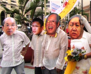 Bulatlat File Photo: June 12 protesters depict corruption of President Aquino, Budget Sec. Abad as intimately linked to corruption of so-called pork barrel queen Janet Lim-Napoles (Photo by M. Salamat / Bulatlat.com)