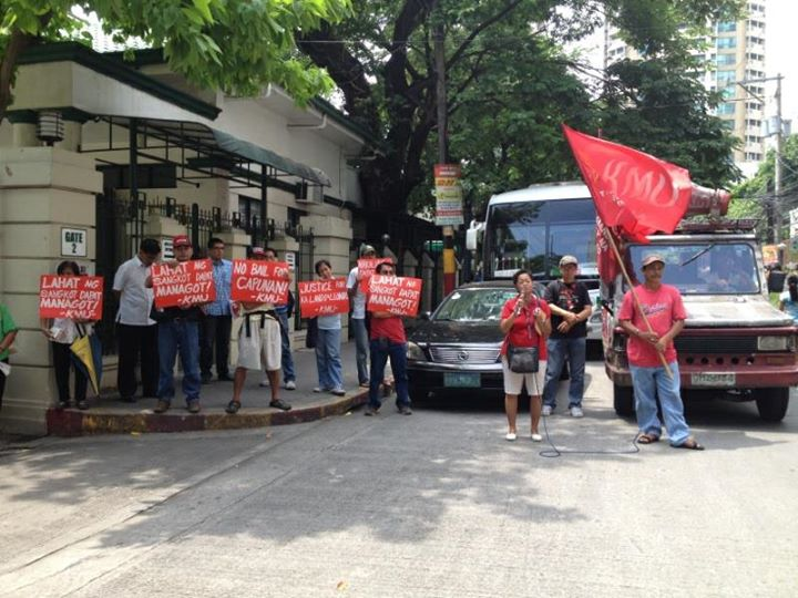 Members of Kilusang Mayo Uno holds picket outside Court of Appeals (Photo courtesy of the National Union of Peoples' Lawyers / Bulatlat.com)