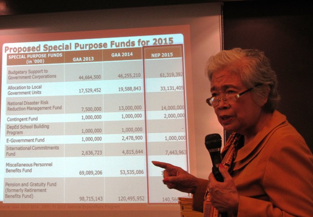 Former National Treasurer Leonor Briones emphasizes presence of 'lump sums' with no or limited transparency in the 2015 budget. (Photo by M. Salamat / Bulatlat.com)