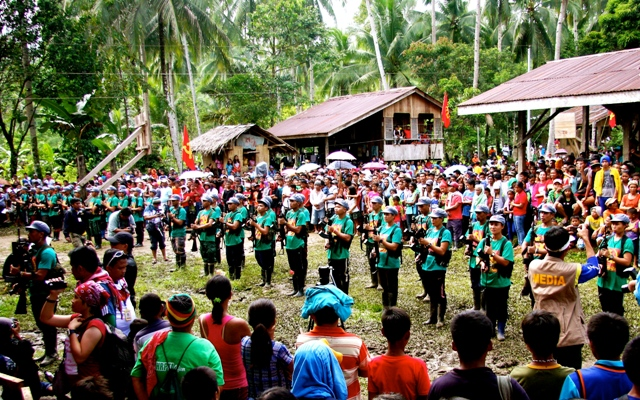 A company of NPA fighters in a formation at the start of the CPP's 46th anniversary celebration in Marihatag, Surigao del Sur. (Photo by Raymund Villanueva/ Bulatlat.com)