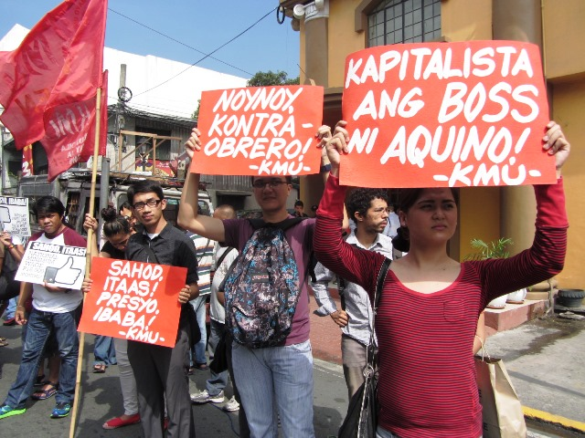 BPO employees join All Workers' Unity picket at the Dept. of Labor & Employment. (Photo by M. Salamat / Bulatlat.com)