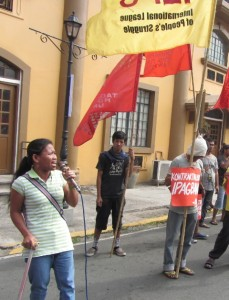 Maritess  Bacolod, Kadamay-NCR chairman, in workers' picket at DOLE for National Minimum Wage