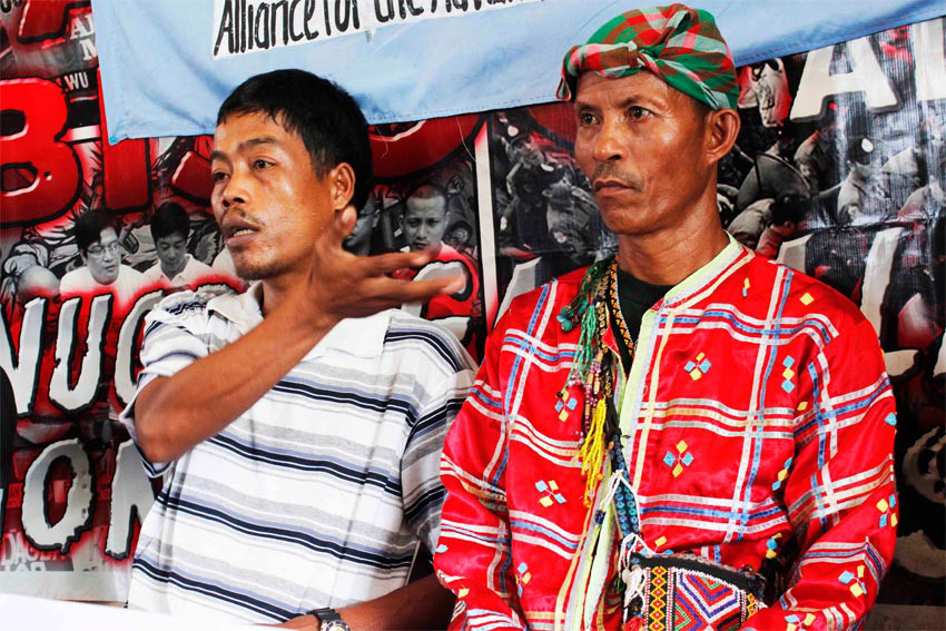 DAVO TODAY File Photo: Tribal leader Lito Sampag from Barangay Gupitan, Kapalong town, Davao del Norte discloses to the media the alleged military restriction on their movement, including their routine work in the farms, as the military renews counterinsurgency operations. A military-organized paramilitary among other tribesmen is being used to enforce the restriction on them in the villages of Kapatagan, Mankay, Taonatok, Aninipot and Ngan, all in Kapalong.