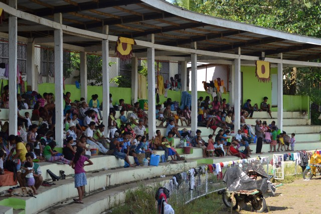 Evacuees from Diatagon at the Surigao del Sur Provincial Sports Complex in Tandag City on Sept. 2 (Photo courtesy of Karapatan-Caraga/Bulatlat.com)