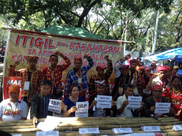 IBP President Reyes expresses support to Lumad, vows to help them in their plight. (Photo by J. Ellao / Bulatlat.com)