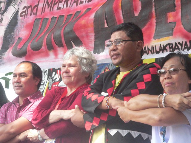 L to R: Fr. Joey Echano, Lyn Meza of ILPS and Chelsea Unity against War, Jomorito Goaynon of Sulong Katribu partylist, and Sr. Ma. Luz Mallo of Samin  (Photo by D. Ayroso/Bulatlat.com)