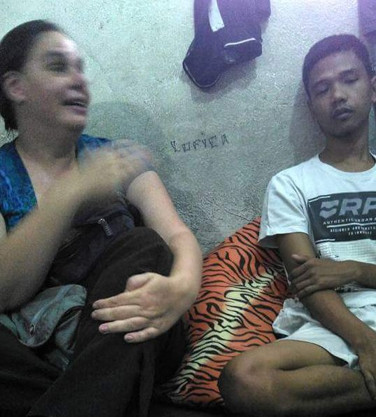 American churchworker Rebecca Lawson (left) was among those who visited Raymark Sumalbag (right) after his release from hospital (Photo by JL Burgos/Pinoy Weekly)