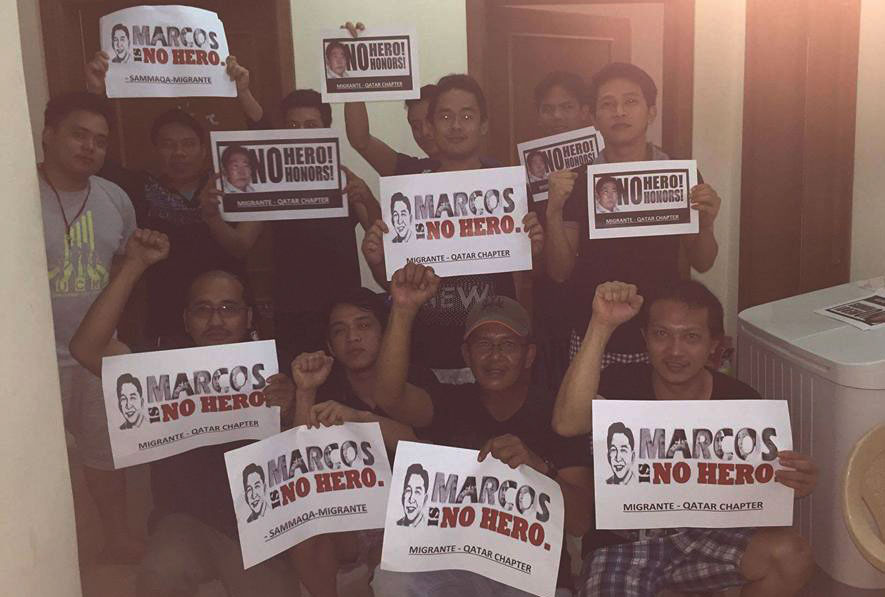 Overseas Filipino workers in Qatar join the Global Day of Action against Marcos's burial at the Libingan ng mga Bayani.
