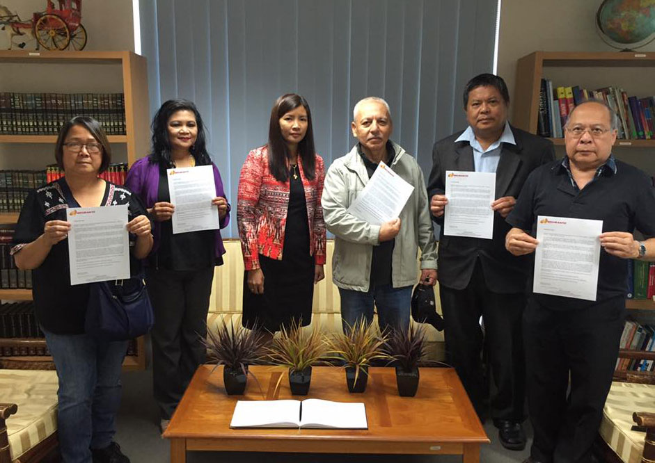 In Sydney, a delegation from Migrante Australia (NSW) presents a statement to Consul Melanie Diano at the Philippine Consulate Sydney. The statement iterates that the real heroes are those who fought against the Marcos dictatorship and those continuing to fight Marcos' legacy of corruption, foreign debt, the US military presence; the overseas Filipino workers whose blood, sweat and tears (their remittances) fuel the Philippine economy; and those who are tirelessly working for peace, giving peace a chance.
