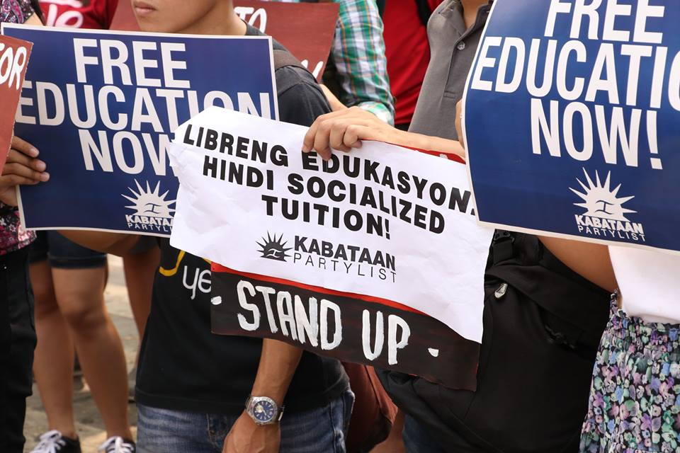FILE PHOTO: Groups LFS, Kabataan Partylist and Anakbayan today held protests at the Palma Hall in UP Diliman, and at the office of the Commission on Higher Education (Ched) in Diliman, Quezon City.(Photo grabbed from League of Filipino Students Facebook page.)