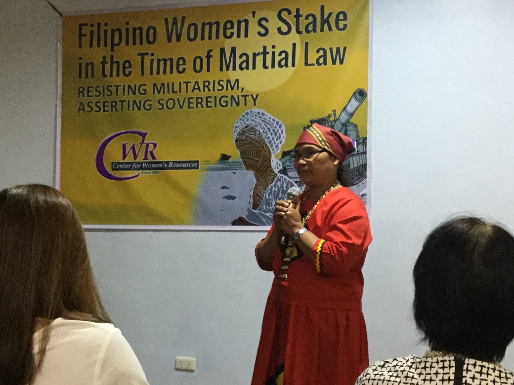 Lumad leader Eufemia Cullamat during the presentation of CWR's study. (Bulatlat photo)
