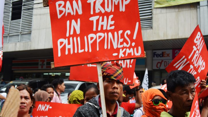 Protesters tag Trump, Duterte as 'fascists'