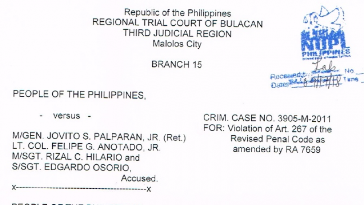 FULL TEXT: Joint Decision dated Sept 17,2018 vs. Palparan, 2 others