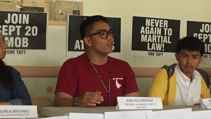 Students call for nationwide protest to commemorate martial law