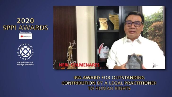 Neri Colmenares wins international human rights award